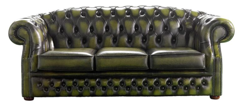 Chesterfield Handmade Buckingham 3 Seater Antique Olive Leather Sofa