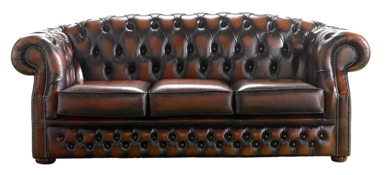 Chesterfield Handmade Buckingham 3 Seater Antique Rust Leather Sofa