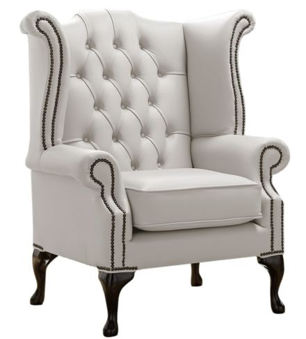 Chesterfield Queen Anne High Back Wing Chair Shelly Almond Leather