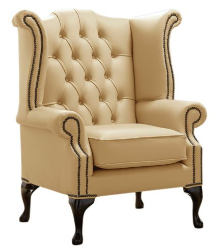 Chesterfield Queen Anne High Back Wing Chair Shelly Angel Leather