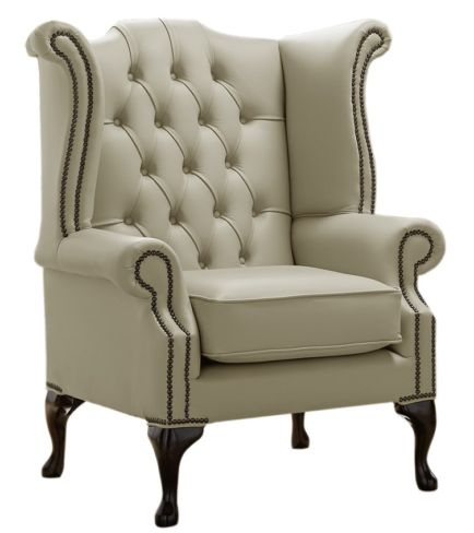 Chesterfield Queen Anne High Back Wing Chair Shelly Ash Leather