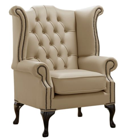 Chesterfield Queen Anne High Back Wing Chair Shelly Basket Leather