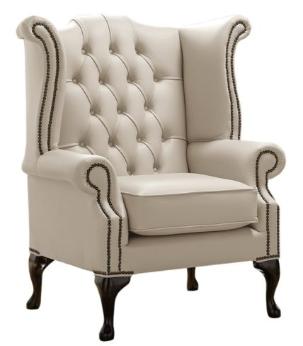 Chesterfield Queen Anne High Back Wing Chair Shelly Beige Leather