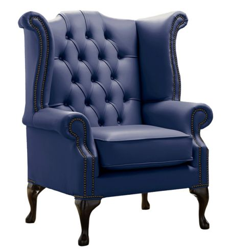 Chesterfield Queen Anne High Back Wing Chair Shelly Bilberry Leather