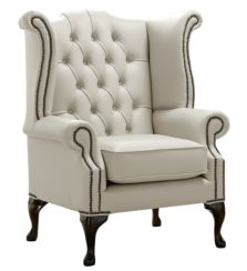 Chesterfield Queen Anne High Back Wing Chair Shelly Cottonseed Leather