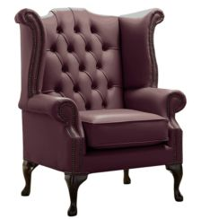 Chesterfield Queen Anne High Back Wing Chair Shelly Dark Grape Leather