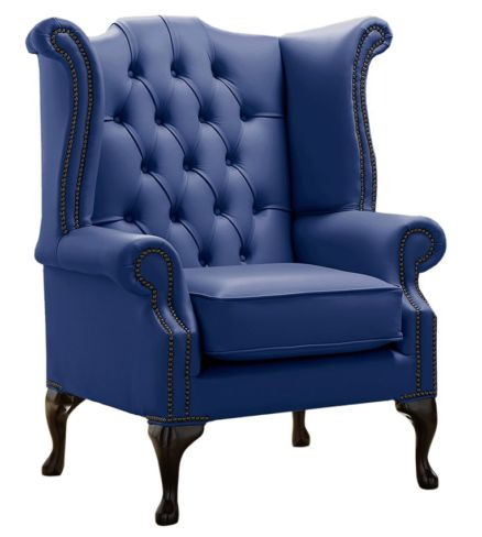Chesterfield Queen Anne High Back Wing Chair Shelly Deep Ultramarine Blue Leather