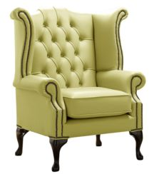 Chesterfield Queen Anne High Back Wing Chair Shelly Field Green Leather