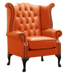 Chesterfield Queen Anne High Back Wing Chair Shelly Firestone Leather