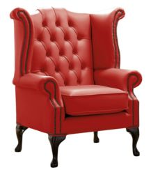 Chesterfield Queen Anne High Back Wing Chair Shelly Flame Red Leather