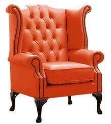 Chesterfield Queen Anne High Back Wing Chair Shelly Flamenco Leather
