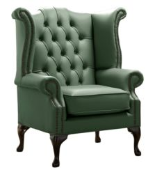 Chesterfield Queen Anne High Back Wing Chair Shelly Forest Green Leather
