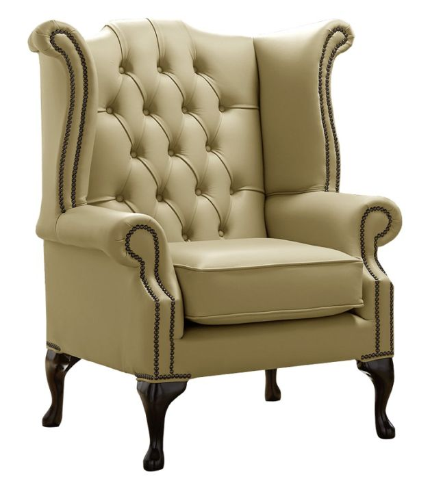 Chesterfield Queen Anne Wing Chair Shelly Golders Green Leather