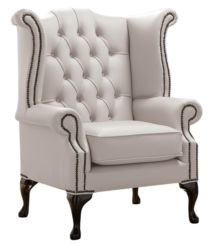 Chesterfield Queen Anne High Back Wing Chair Shelly Grove Leather