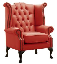 Chesterfield Queen Anne High Back Wing Chair Shelly Horizon Leather