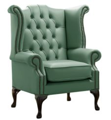 Chesterfield Queen Anne High Back Wing Chair Shelly Jade Green Leather