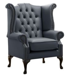 Chesterfield Queen Anne High Back Wing Chair Shelly Knight Leather