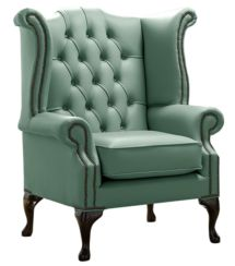 Chesterfield Queen Anne High Back Wing Chair Shelly Lichen Leather