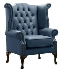 Chesterfield Queen Anne High Back Wing Chair Shelly Majolica Blue Leather