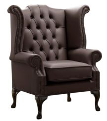 Chesterfield Queen Anne High Back Wing Chair Shelly Mocca Leather