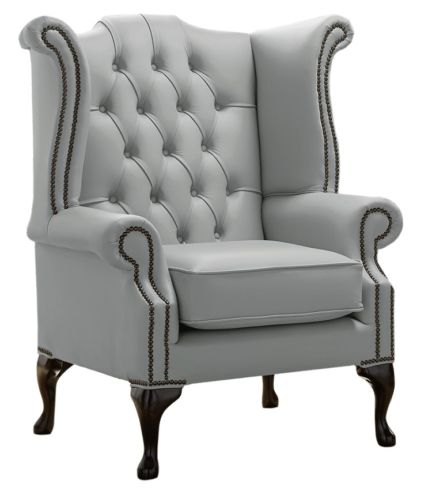 Chesterfield Queen Anne High Back Wing Chair Shelly Moon Mist Leather