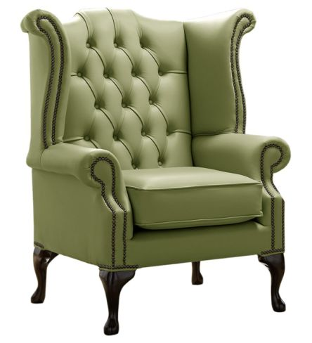 Chesterfield Queen Anne High Back Wing Chair Shelly Mountain Tree Leather