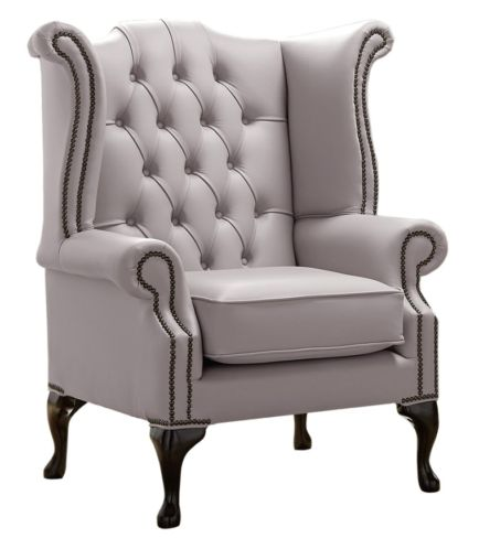 Chesterfield Queen Anne High Back Wing Chair Shelly Owl Leather