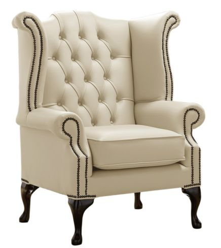 Chesterfield Queen Anne High Back Wing Chair Shelly Panna Leather