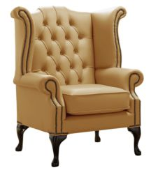 Chesterfield Queen Anne High Back Wing Chair Shelly Parchment Leather
