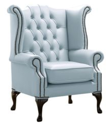 Chesterfield Queen Anne High Back Wing Chair Shelly Parlour Blue Leather