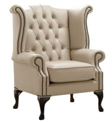 Chesterfield Queen Anne High Back Wing Chair Shelly Pebble Leather