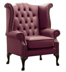 Chesterfield Queen Anne High Back Wing Chair Shelly Philly Leather