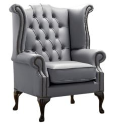 Chesterfield Queen Anne High Back Wing Chair Shelly Piping Leather