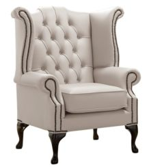 Chesterfield Queen Anne High Back Wing Chair Shelly Rice Milk Leather