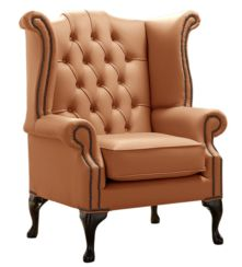Chesterfield Queen Anne High Back Wing Chair Shelly Saddle Leather