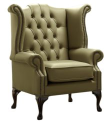 Chesterfield Queen Anne High Back Wing Chair Shelly Sage Leather