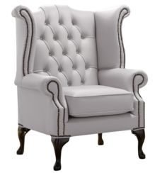 Chesterfield Queen Anne High Back Wing Chair Shelly Seely Leather