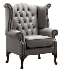 Chesterfield Queen Anne High Back Wing Chair Shelly Silver Birch Leather