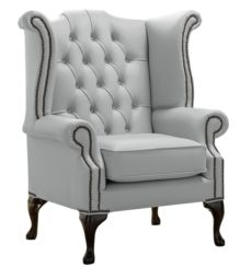 Chesterfield Queen Anne High Back Wing Chair Shelly Silver Grey Leather