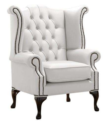 Chesterfield Queen Anne High Back Wing Chair Shelly White Leather