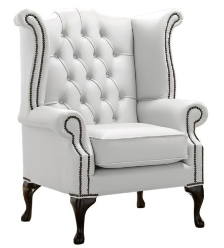 Chesterfield Queen Anne High Back Wing Chair Shelly Winter White Leather