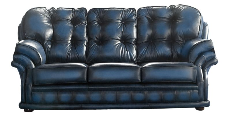 Chesterfield Handmade Knightsbridge 3 Seater Sofa Antique Blue Leather