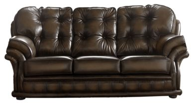 Chesterfield Handmade Knightsbridge 3 Seater Sofa Antique Brown Leather