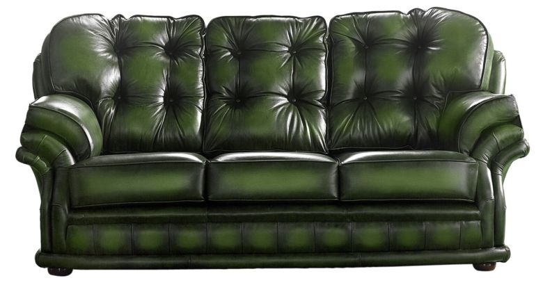 Chesterfield Handmade Knightsbridge 3 Seater Sofa Antique Green Leather