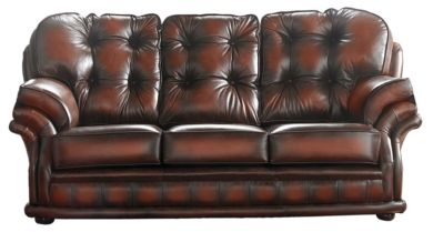 Chesterfield Handmade Knightsbridge 3 Seater Sofa Antique Light Rust Leather
