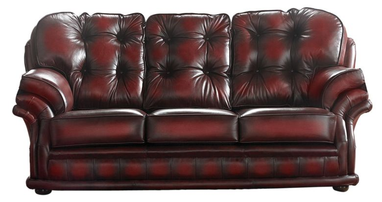 Chesterfield Handmade Knightsbridge 3 Seater Sofa Antique Oxblood Leather