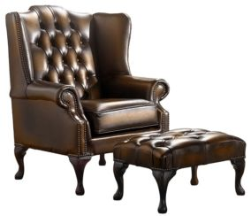 Chesterfield Handmade Mallory Flat Wing Back Armchair Antique Autumn Tan Leather + Footstool