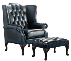 Chesterfield Handmade Mallory Flat Wing Back Armchair Antique Blue Leather + Footstool
