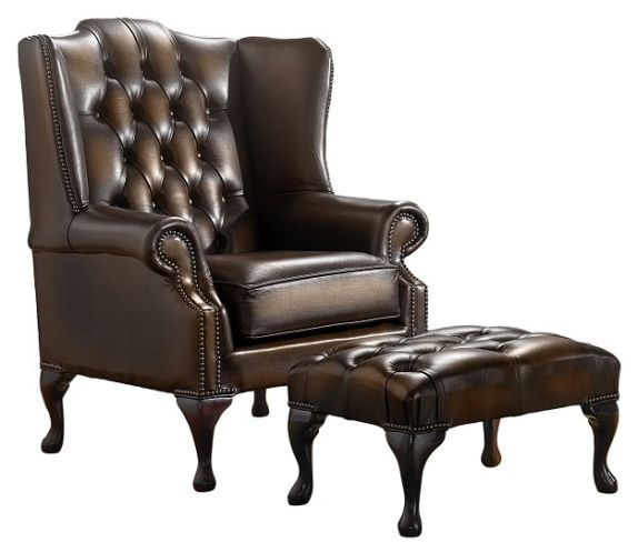 Chesterfield Handmade Mallory Flat Wing Back Armchair Antique Brown Leather + Footstool