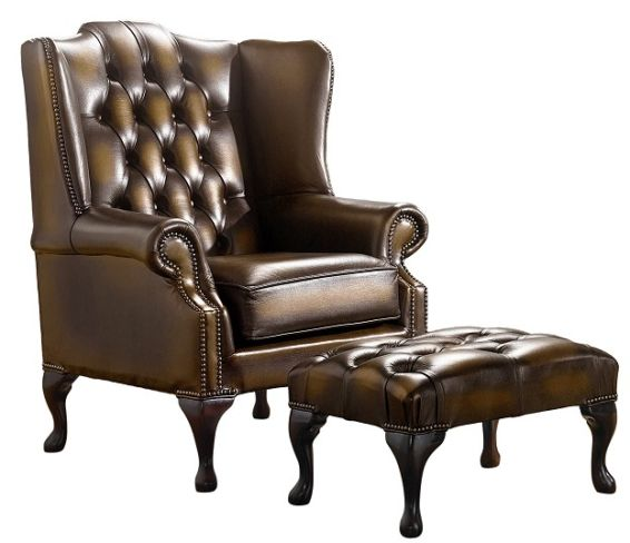 Chesterfield Handmade Mallory Flat Wing Back Armchair Antique Gold Leather + Footstool